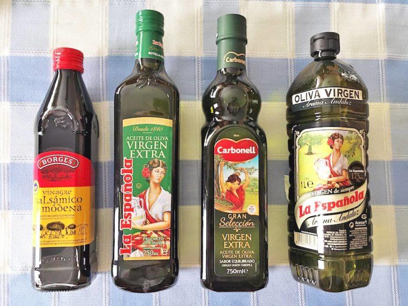 aceite de oliva virgen extra, la espanola, carbonell, borges, vinagre de acetato balsamico de modena, qualitaetsmarken spanien, zufaelle, irene jost
